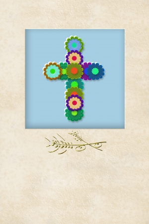 liturgy: cheerful flowers cross communion invitation card, with copy space for writing Stock Photo
