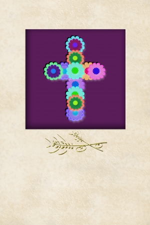 liturgy: cheerful flowers cross communion reminder invitation card, with copy space for writing Stock Photo