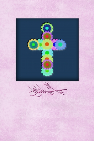 cheerful flowers cross communion reminder invitation card, with copy space for writing photo