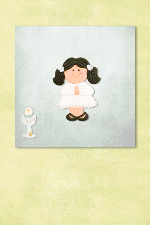 brown girl celebrating first communion invitation card, Background with copy space. Stock Photo - 24394827