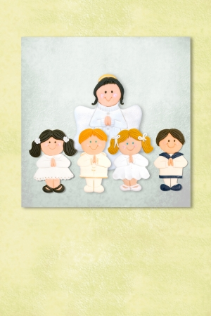 Cute Angel and childrens celebrating first communion invitation card, Background with copy space. Stock Photo - 24394829