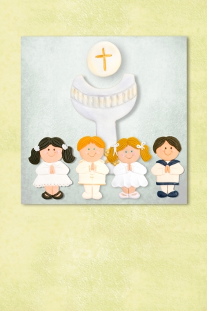 liturgy: childrens and chalice celebrating first communion invitation card, Background with copy space.