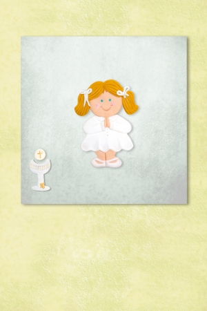 blonde girl celebrating first communion invitation card, Background with copy space. Stock Photo - 24394832