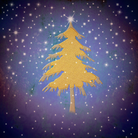 Christmas greeting card,gold fir tree with stars, on blue  background  photo