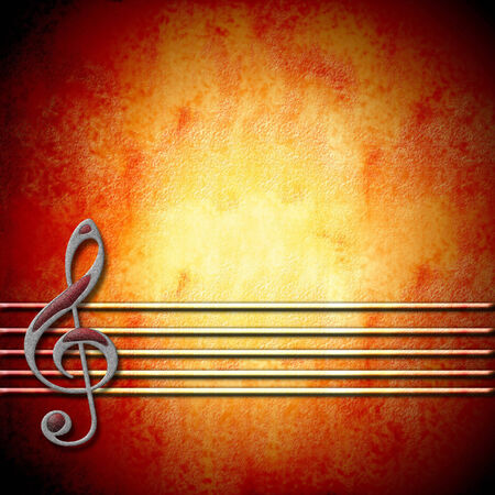 musical background with treble clef staff and with empty space for writing photo