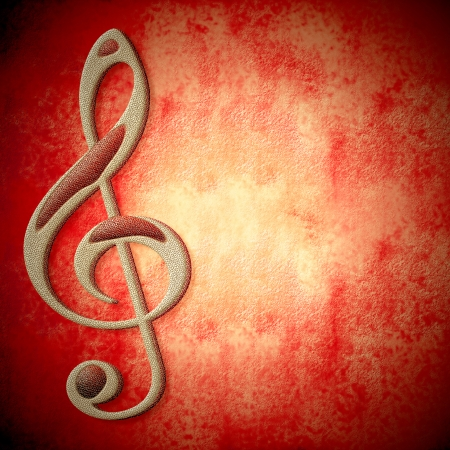 musical symbol on metal, red background texture with empty space for writing photo