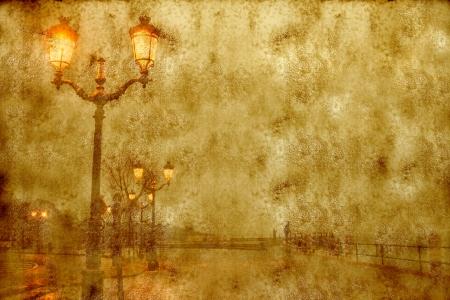 lanterns lit cityscape street; vintage style parchment texture and sepia tone