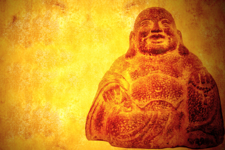 smiling buddha sitting parchment background with blank space for text or message Stock Photo - 25254922