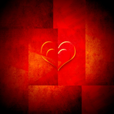 background valentines day two transparent hearts into each other in bright red background photo