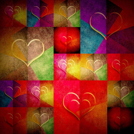 cheerful greeting card valentines day grunge background with many hearts in bright colors photo