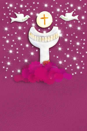 Chalice and doves First Holy Communion Card template for a girl in pink with copy space for text photo