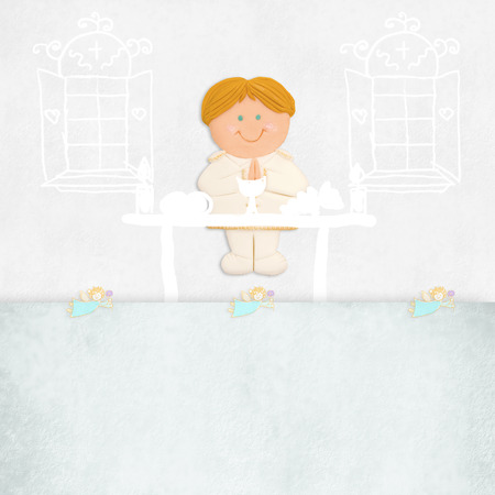 altar: first communion invitation blond boy on the altar and space for name and place