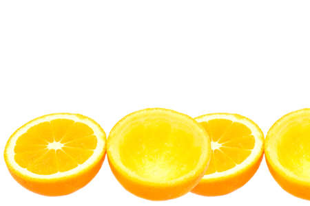 squeeze shape: squeezed orange halves without squeezing, isolated on white background with space for writing text Stock Photo