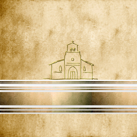 sepia  parchment background first communion greeting card Church, with copy space photo