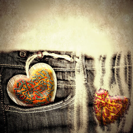 valentines day grunge background with hearts and jeans copy space for text photo