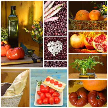 Collage of food, fruit vegetables vegetable tomatoes olive oil bread flour spices orange grenades, vegetarian diet photo