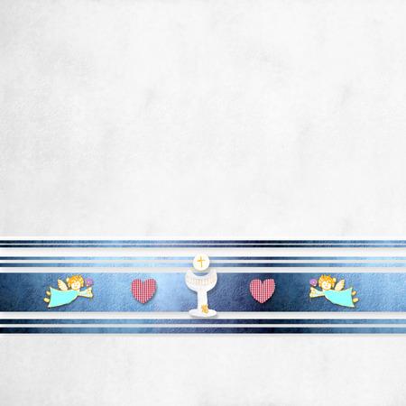 divine: Eerste communie wenskaart achtergrond met lege ruimte voor foto en tekst
