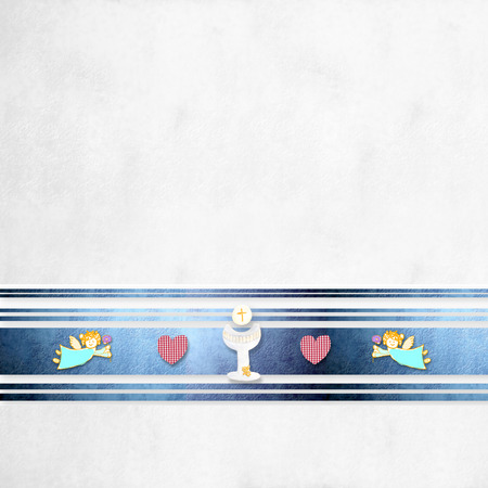 First Communion greeting card background with blank space for photo and text 免版税图像 - 27334967