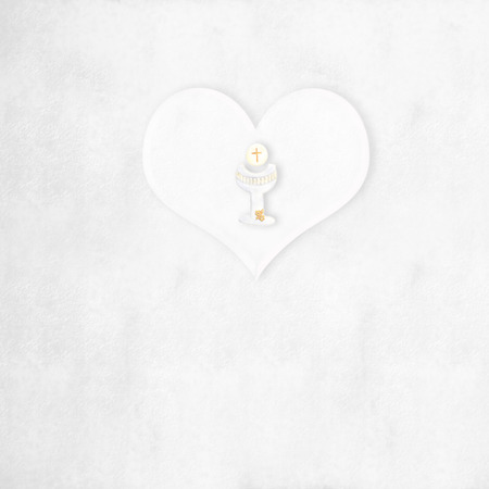 First Communion greeting card background heart and calyx, with blank space