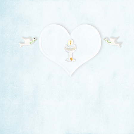 First communion chalice heart and doves  in blue background with copy space photo