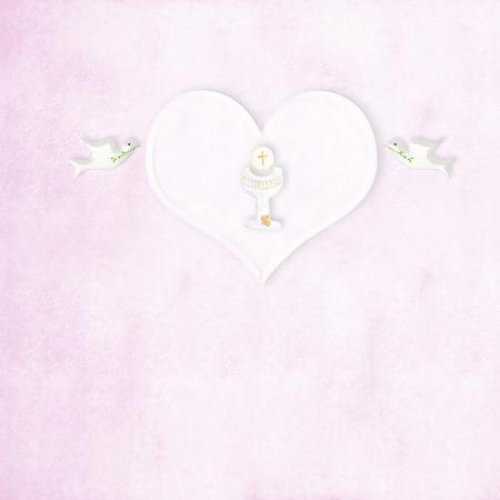 divine: Eerste communie kelk hart en duiven in roze achtergrond met kopie ruimte
