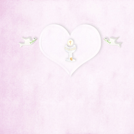 communion wafer: First communion chalice heart and doves  in pink background with copy space