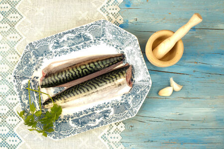 cantabrian: Fresh fish and ingredients decorated vintage