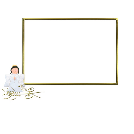 First Communion Invitation Angel, golden photo frame isolated on white background and copy space for writing text photo
