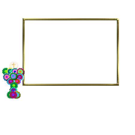 First Communion Invitation crucifix and cute chalice, golden photo frame isolated on white background and copy space for writing text photo