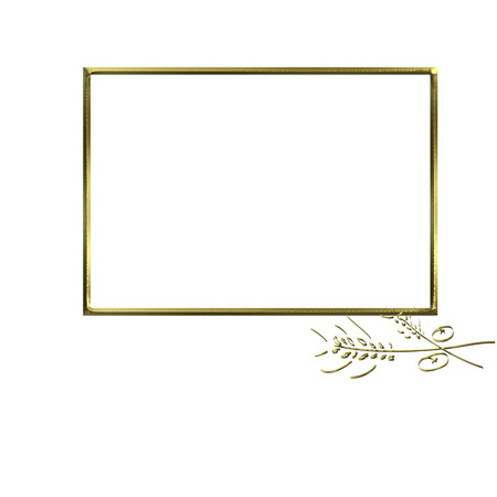 First Communion Invitation spikes and bread, golden photo frame isolated on white background and copy space for writing text