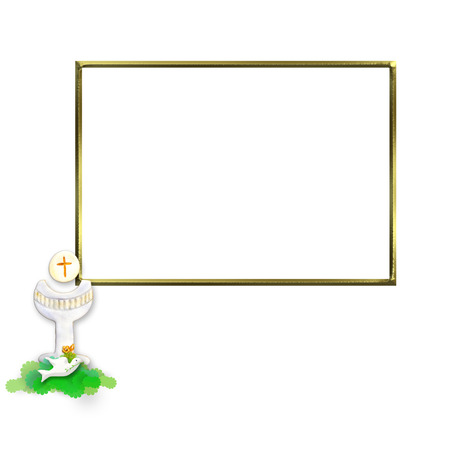 confirmation: First Communion Invitation Chalice and dove, golden photo frame isolated on white background and copy space for writing text Stock Photo