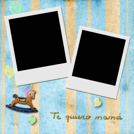 Sentence te quiero mama, love you mom in spanish, two Instant Photo Frame in blue child background with antique toys  photo