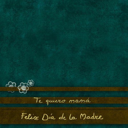 dia de la madre: Sentence Feliz dia de la madre te quiero mama,Happy mothers day  love you mom in spanish, green background withflowers  and text in gold, copy space for text or photo