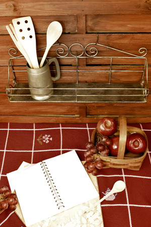 Blank book recipes fruit basket and shelves with utensils country  style photo