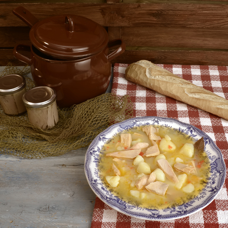 cantabrian: Stew potatoes and fish, traditional Spanish gastronomy on the Cantabrian coast