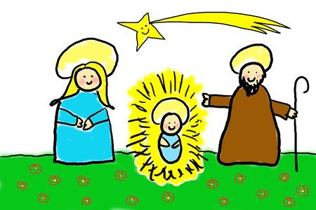 estrella de belen: Navidad, alegre dibujo infantil de la Sagrada Familia