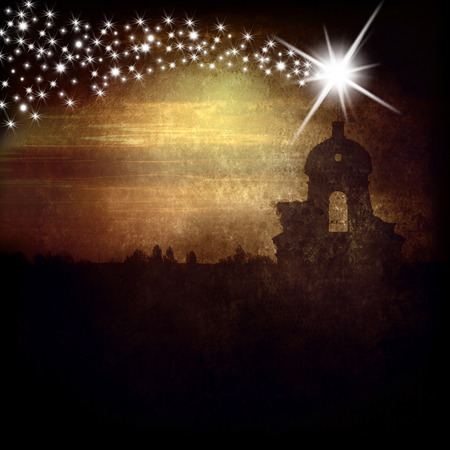 Christmas Greeting Card, belfry and Star of Bethlehem Stock Photo