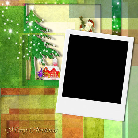Merry Christmas Santa card, templates with blank photo instant frame photo