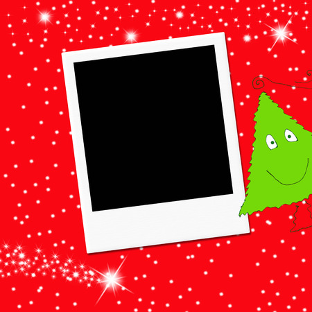Cute Christmas tree and blank  photo frame on red background photo