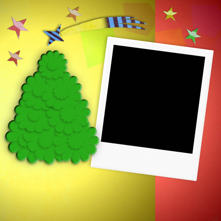 Empty picture instant photo frame Christmas greeting card photo