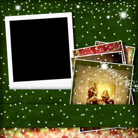 Christmas Cards,  picture frame and  Nativity Scene photo