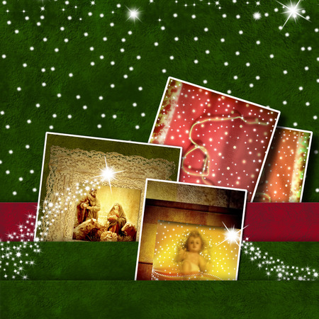 Christmas Cards, panel with photos of baby Jesus and Nativity Scene photo