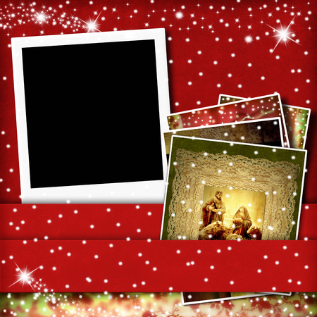 Christmas Cards,  one picture frame and  Nativity Scene on red  photo