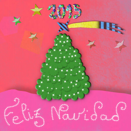 spanish language: Child Christmas Cards, with the text Feliz Navidad ,Merry Christmas in spanish language