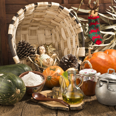 country kitchen: Christmas background, Baby Jesus in country kitchen surrounded by ingredients and cookware