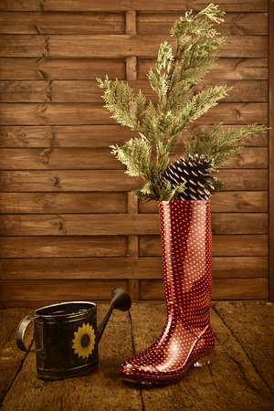 rain boots: Christmas background, rain boots and watering can in rustic wooden background