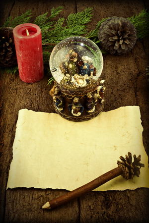 wisemen: Letter blank parchment to write Magi or greeting the Christmas Time Stock Photo