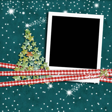 Christmas photo frame fir tree on starry paper background photo