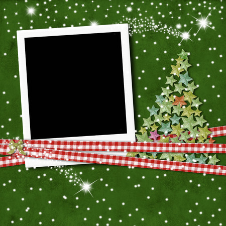 Christmas photo frame in blank for scrapbooking