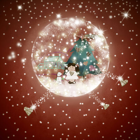 snowball: Snowball glass with a cute girl and a Christmas landscape inside on a textured paper with golden hearts and stars